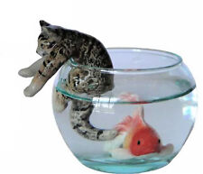 Miniature Porcelain Tabby Cat Figurine with Fish & Bowl (A) Climbing out of Bowl
