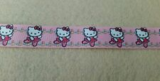 Hello Kitty ribbon printed 1m x 22mm 7/8 grosgrain pink cat