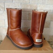 UGG Classic Short Boots Chestnut Waterproof Leather  Sheepskin Size US 8 Womens