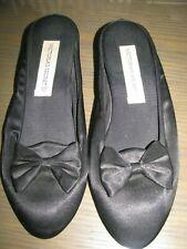 Womens Victoria's Secret Vintage Black Satin Bow Heel Slippers Sz S 5-6 Nwot