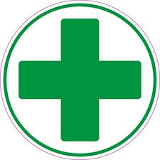 6No-50x50mm] FIRST AID CROSS  Circle health/safety signs-sticker green cross