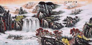 100% HANDPAINTED ORIGINAL ASIAN FINE ART SANSUI PAINTING-Landscape&Waterfall&Sun