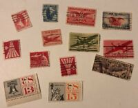 Vintage Air Mail 1939, 1940's, 1950's, 1960's Stamps Used Airpost US 13 Lot