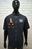 Camicia Blu Uomo LA MARTINA Taglia XL Camicetta Manica Corta Maglia Shirt Man