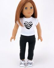 """Doll Clothes Fit AG 18"""" Pants Black Top White Heart Fits American Girl Dolls"""