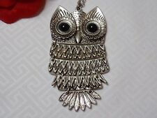 Fashion Jewelry Long Sweater Necklace Silver Tone with Owl Pendant Black Eyes