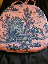 New Williams Sonoma Orleans Toile Blue Pink Chair Cushion