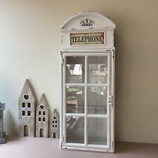 White Metal Telephone Box Key Cupboard Vintage British Chic Retro Shabby Cabinet