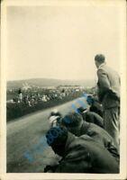 Isle of Man TT 1950's photo bike through crowds at speed.3.25 x 2.25 inch