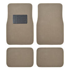 Auto Floor Mats for Car - Classic Carpet w/ Heelpad Beige Tan Set Front & Rear