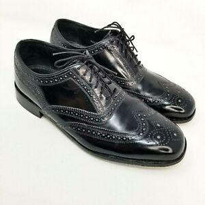 Vintage Florsheim Mens Size 8.5 D Wingtip Derby Black Dress Shoes Lace Up