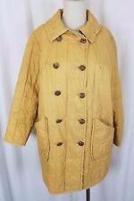 Vintage MCM White Bear St. Paul Quilted Double Breasted Long Coat Womens M Gold