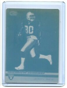 1/1 JERRY RICE 2001 PACIFIC HEADS UP PRINTING PLATE OAKLAND RAIDERS 1 OF 1 RARE