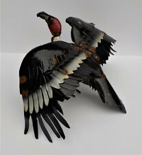 "YARD ART METAL BUZZARD SULPTURE 20"" WING SPAN VULTURE BIRD FIGURE"
