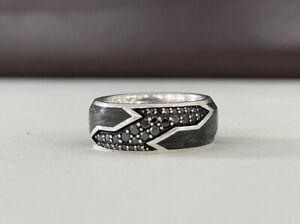 David Yurman Mens Forged Carbon Sterling Silver Band w/ Black Diamonds Size 9.5