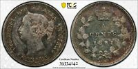 PCGS XF-45 CANADA SILVER 5 CENTS 1891 (OBVERSE #5) UNDERGRADED TONED AU!