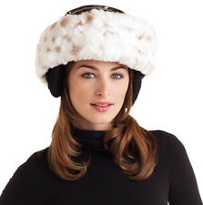 Woman's Winter Lynx Faux Fur Ski Helmet Acces, Shawl, Scarf, Ear Warmer Headband