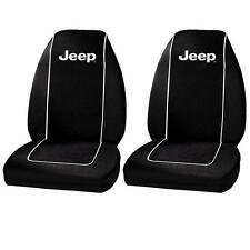 Jeep Wrangler YJ/TJ/JK 1987-2017 Black Seat Covers w Logo Front & Rear Full Set