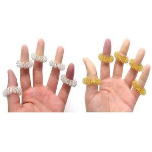 10er Set Massagering Akupressur Ringe Fingermassage gold silber Entspannung Neu