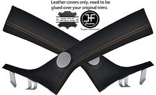 TAN STITCHING 2X A PILLAR REAL LEATHER COVERS FITS ALFA ROMEO MITO 2008-2015