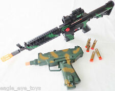 2X Toy Machine Guns Military UZI Toy Dart Pistol & M-16 Toy Rifle Set SAFE
