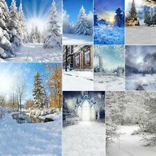 Winter Snow Forest Background Cloth Studio Photography Backdrop Print Decor