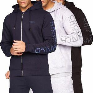 Mens Crosshatch Zip Up Hoodie Sweatshirt Sweater Jumper Outwear Pullover Jacket