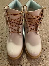 """NWOT Timberland Women's Size 7W 6"""" Premium Fabric Boot Off White Baby Blue Accen"""