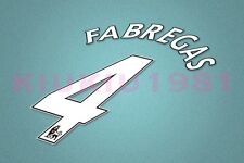 Arsenal Fabregas #4 PREMIER LEAGUE 06-13 White Name/Number Set