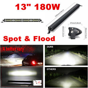 1pcs 13Inch White LED Work Light Bar Spot Flood Combo Off Road Driving Fog Light