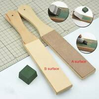 Dual Sided Compounds Leather Blade Strop Razor Sharpener Polishing Wooden Tool