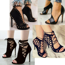 Rivet Punk High Heels Sandals Womens Peep Toe Zip Lace Up Party Shoes Stilettos