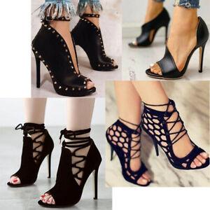 Rivet Punk High Heels Sandals Womens Peep Toe Zip Lace Up Party Shoes Stilettos