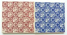 """2 Screen printed 6""""sq reproduction tiles by H&R Johnson, c1989"""