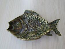 VINTAGE BRASS FISH (PERCH?) PIN DISH / ASHTRAY, HEAVY & SOLID.