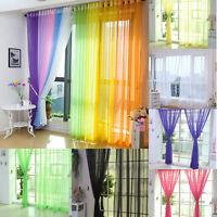 2PCS Floral Tulle Voile Door Window Curtain Drape Panel Sheer Scarf Valances
