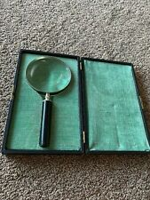 """S & A France 4.5"""" Magnifying Glass With Box Silver Trim With Black Handle"""