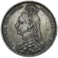 1889 SHILLING - VICTORIA BRITISH SILVER COIN - V NICE