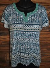 Charter Club Missy Womens Turquoise Pullover Top Wooden Beaded Neckline Size XL
