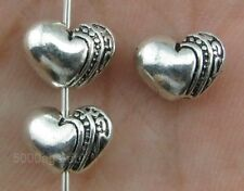 50Pcs Tibetan Silver charm Heart Spacer Beads 9.5mm  Jewelry Findings A0010