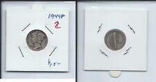 Gertbrolen ETATS-UNIS  USA One Mercury Dime  1944 PHILADELPHIA  Numéro 2