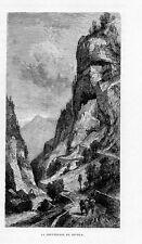 Stampa antica FORTEZZA del COVOLO CISMON del GRAPPA Vicenza 1877 Old print