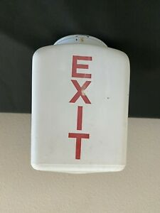 VINTAGE 1950'S EXIT MOVIE RED & WHITE GLASS LIGHT FIXTURE SHADE GLOBE