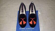 """RARE! Mens $495 Stubbs & Wootton Black Velvet """"TASSLES"""" Slippers Loafers Shoes"""