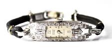 Vintage Women's Ernest Borel Platinum Diamond Wristwatch Art Deco 17J Swiss 10mm