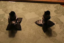 Vintage Lot of 2 Hand Crafted Leaf candlesticks made in Borel Haiti