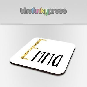 Personalised Gold Glitter Letter Coaster Drink Mat Gift Set Birthday Present