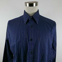 Express Mens Modern Fit LS Button Up Black Navy Blue Striped Shirt Large 16-16.5