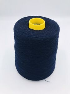 100% Lambswool Yarn In Navy Blue. 500g Cone.2 Ply Hand/machine Knit.Italian Spun