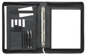 Ringbuchmappe A4 mit Reißverschluss, Kunstleder schwarz - von FIHA-Promotion